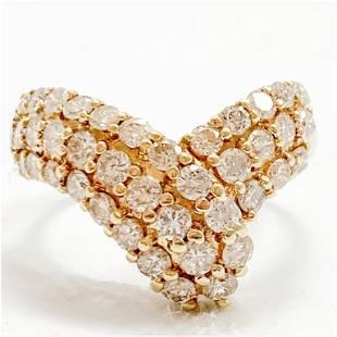 2.15 Carat Diamond & 14k Gold Bypass Ring