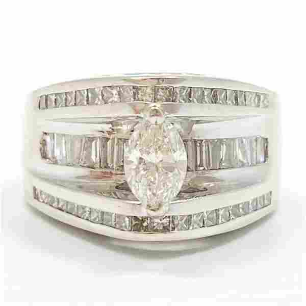 2.25 Carat Diamond & 14k WG Wide Band Ring
