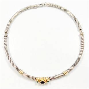 DAVID YURMAN Silver 14k Emerald Amethyst Necklace