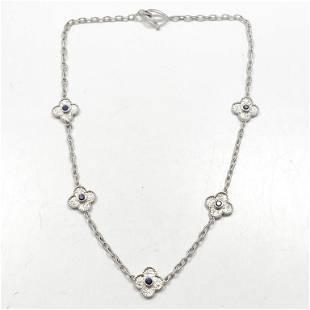 PALOMINO Sapphire & 18k WG Quatrefoil Necklace