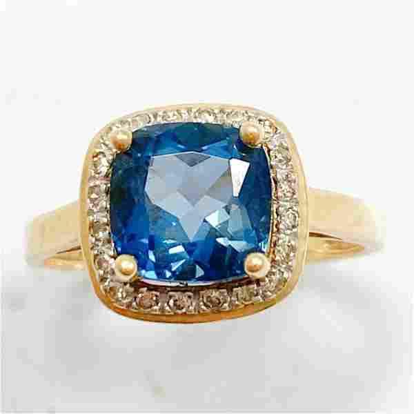 2.75 CT Blue Topaz & Diamond 14k Gold Halo Ring