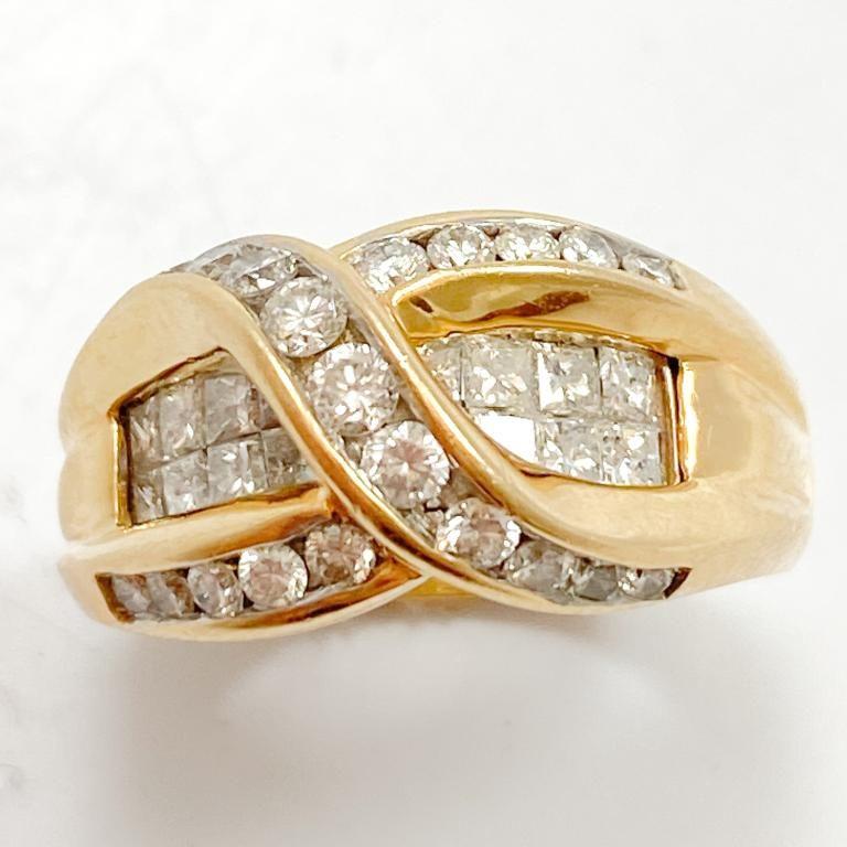 1.5+ Carat Diamond & 14k Yellow Gold Band Ring