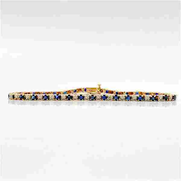 Sapphire & Diamond 14k Yellow Gold Bracelet
