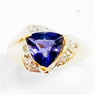 1.25 Carat Tanzanite & Diamond 14k Gold Ring