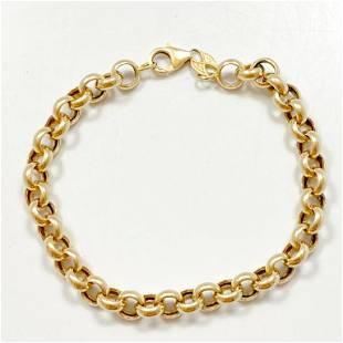 Designer 14k Yellow Gold Rolo Link Bracelet