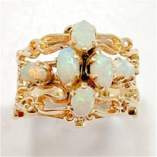 Scrolled Lattice Opal 14k Yellow Gold Ring