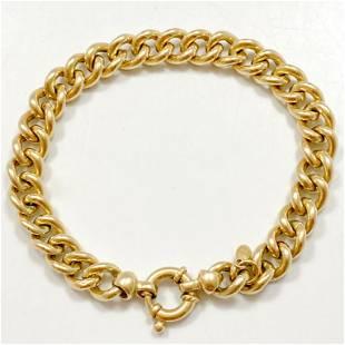 Polished Curb Link 14k Yellow Gold Bracelet