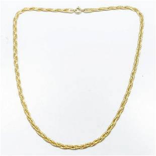 """18"""" Braided Herringbone Link 14k Yellow Gold Chain"""