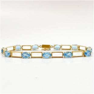 9.5+ Carat Blue Topaz & 14k Gold Bracelet