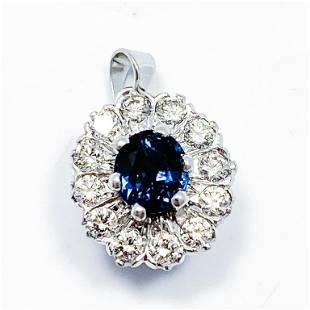 Sapphire & Diamond 14k White Gold Halo Pendant