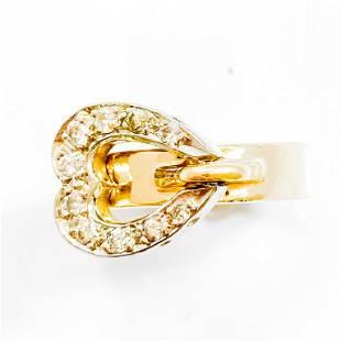 Italian Diamond & 14k Gold Heart Lock Ring