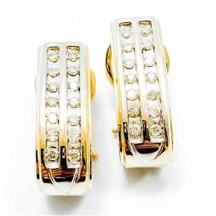 3/4+ Carat Diamond & 10k Gold Earrings