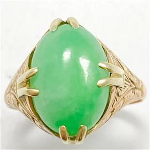 Jade & Yellow Gold Etched Cocktail Ring