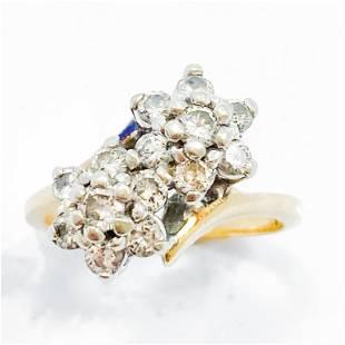 1 Carat Diamond & 14k Gold Flower Ring