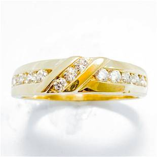 Diamond & 10k Yellow Gold Band Ring