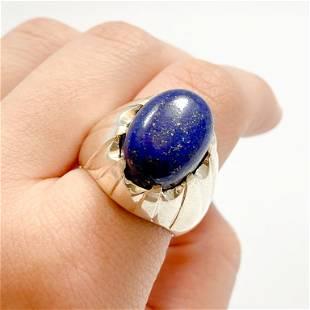 Appraised 19 Carat Lapis Lazuli & Silver Ring