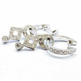 Art Deco 14k White Gold & Diamond Dangle Earrings