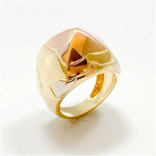 18k Yellow, White & Rose Gold Dome Ring