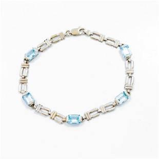 5 Carat Blue Topaz & 14k WG Bracelet