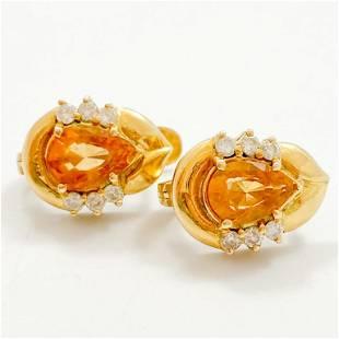 Citrine & Diamond 18k Yellow Gold Earrings