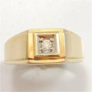 Diamond & 10k Yellow Gold Men's Band Ring