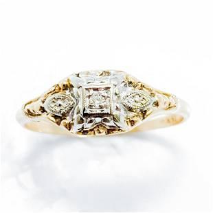 Vintage Diamond & 14k Gold Engagement Ring