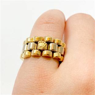 18k White & Yellow Gold ROLEX Jubilee Link Ring