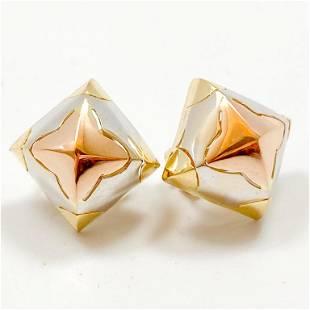 18k Yellow, White & Rose Gold Earrings