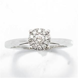 Diamond & 10k White Gold Halo Ring