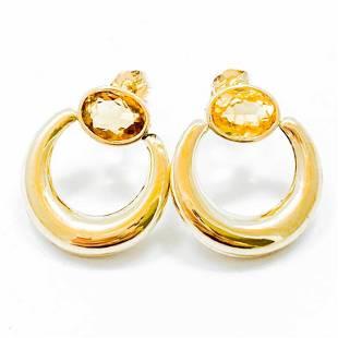 Modern Citrine & 14k Yellow Gold Earrings