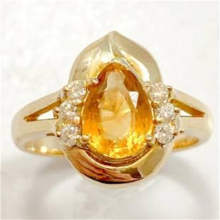 Custom Citrine Diamond 14k Gold Ring