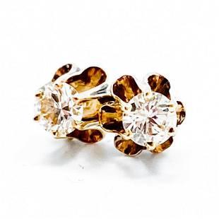 1/3 Carat Diamond & Yellow Gold Stud Earrings