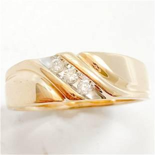Diamond & 14k Gold Men's Band Ring