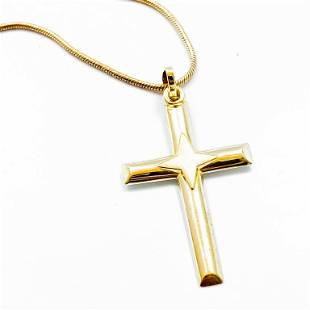 Polished 14k Yellow Gold Cross Necklace