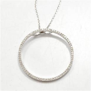 Diamond & 14k White Gold Halo Necklace