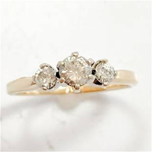 1/2+ Carat Diamond & 14k Yellow Gold Ring
