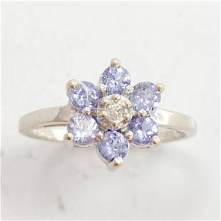Tanzanite & Diamond 10k WG Flower Ring
