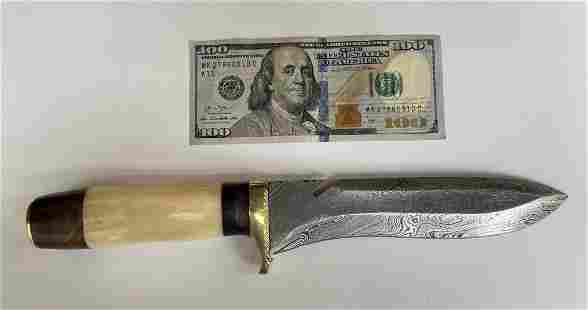 """12"""" Damascus Steel Bowie Hunting Knife"""