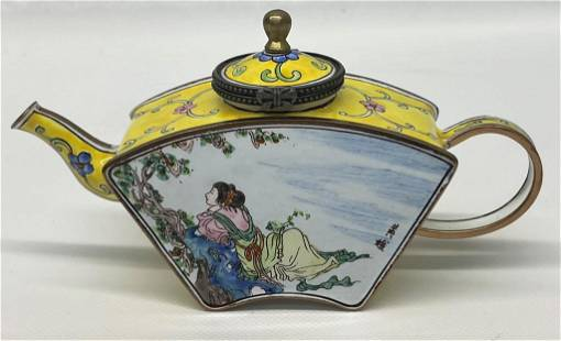 Well Decorated Chinese Enamel Teapot