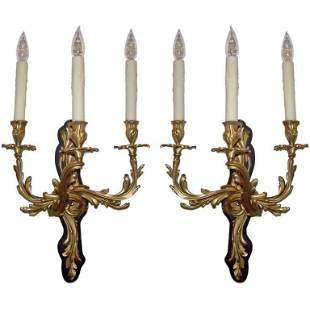 Early 20th C Pair of French Bronze Sconces