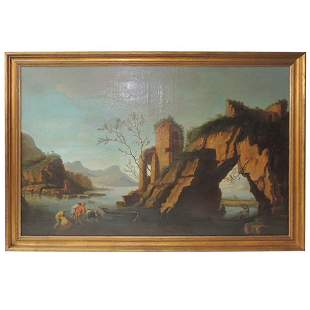 Late 18th C Oil on Canvas Italian Coastal Scene
