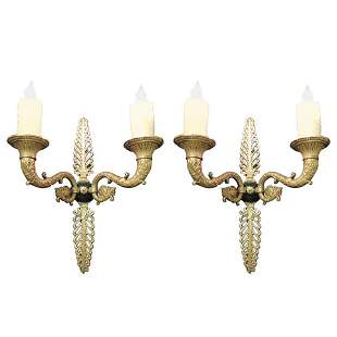 Pair of Late 19th C French Bronze Empire Sconces