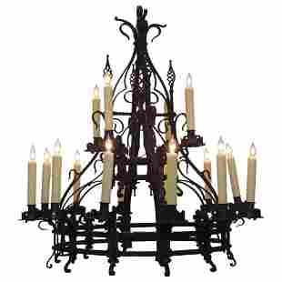 Late 19th C French Gothic Wrought Iron Chandelier