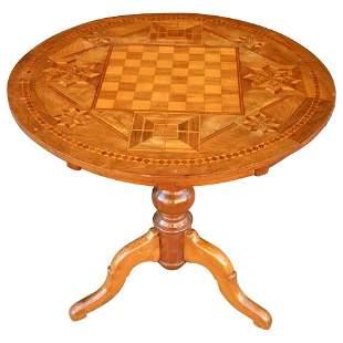 19th Century Italian Walnut Inlaid Chess Game Tilt Top