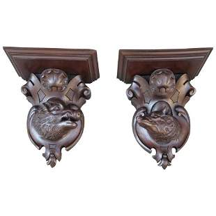 Pair 19th C Black Forest Carved Walnut Wall Brackets