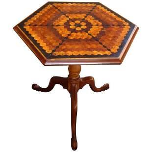 English Neoclassical Hexagonal Specimen Tilt-Top Table
