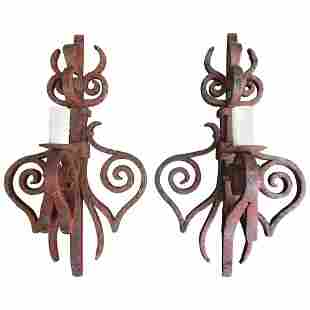 Early 19th Century French Hand-Wrought Iron Sconces