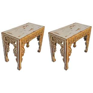 Pair of Early 20th Century Chinese Altar Console Tables
