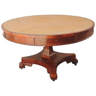 19th C English Regency Library Table with Writing Slide