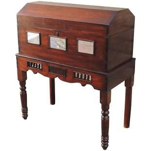 19th C Spanish Colonial Cedar Wedding Case on Stand